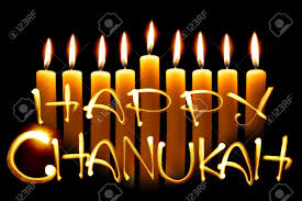 channukah candles created by light text happy chanukah and candles black