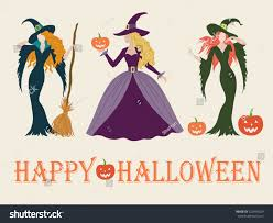 set halloween witch costume color vector stock vector 329490329