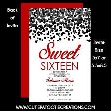 black u0026 red confetti sweet 16 sixteen birthday invitation
