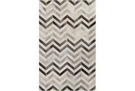 Black And White Zig Zag Rug 96x132 Rug Kenton Chevron Hide Living Spaces