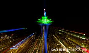 seahawks light up sign seattle space needle lit up in seahawks colors dave sizer flickr