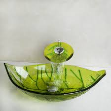 aliexpress com buy green leaf washbasin tempered glass vessel