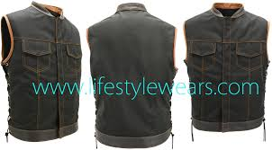 leather biker vest flannel kevlar shirt leather u0026 textile biker vest