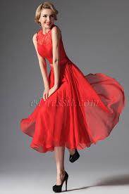 edressit red high collar overlace mid calf cocktail dress 04145402