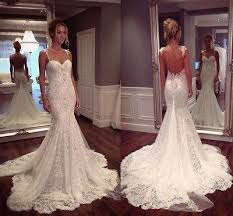 mermaid wedding spaghetti straps wedding dresses lace wedding dresses open back