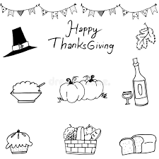 happy thanksgiving element in doodle stock vector illustration of