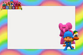 pocoyo with rainbow background free printable invitations oh