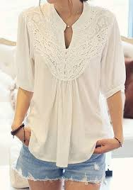 pleated blouse white plain lace pleated band collar sleeve chiffon blouse