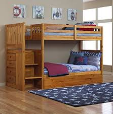 Amazoncom Mission Twin Over Twin Staircase Bunk Bed With Trundle - Trundle bunk bed with desk