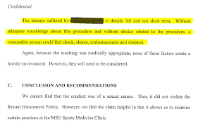 Doctors Slow To Have End At Michigan State University Assault Harassment And Secrecy