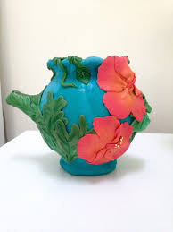 polymer clay vase polymer clay art hibiscus flower vase glass