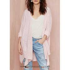 light pink top women s cardigan light pink women s collarless irregular long sleeve acrylic