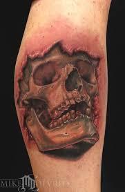 3d skull ripped skin on leg