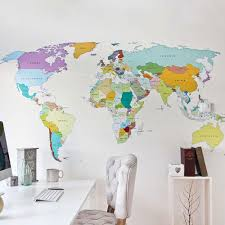 Artistic World Map by Our Most Popular Wall Stickers Vinyl Impression