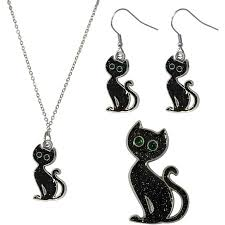 black cat pendant necklace images Gloria duchin black cat necklace earrings and pin jewelry set jpeg