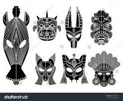 tribal masks ornamental elements set stock vector 269658191
