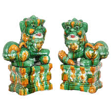 pictures of foo dogs pair of mid century porcelain sancai foo dogs for sale at
