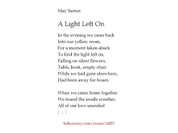 Empty Chair Poem A Light Left On By May Sarton Hello Poetry