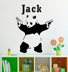 art direct picture more detailed picture about personalized name personalized name customer cool panda gun kids room wall decal quote sticker art