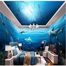 chambre peinte en bleu beibehang personnalisé chambre papier peint bleu foncé mer dauphin