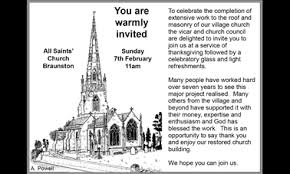 thanksgiving service for roof repairs all saints church
