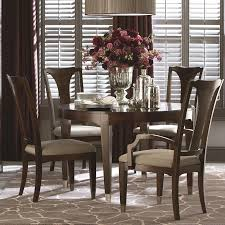 bassett cosmopolitan transitional five piece dining set with round