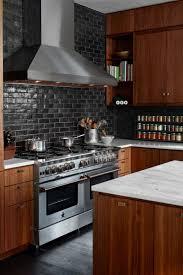 Kitchen Subway Tile Backsplash Designs Black Subway Tile Backsplash Small Classic Kitchen Design Wall