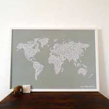 World Map Wall Poster by Large Map Of The World With Heart Stickers By Witty Hearts