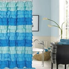 Turquoise Ruffle Curtains Venezia French Blue Ombre Ruffled Shower Curtain