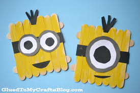 popsicle stick minions kid craft