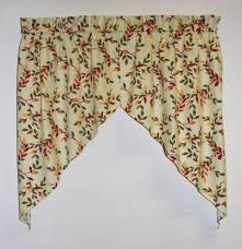 vintage vine print tailored swags window curtains pair window