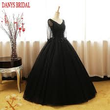 black long sleeve princess quinceanera dresses ball gown beaded