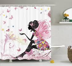 amazon com girls shower curtain by ambesonne pink butterfly girl amazon com girls shower curtain by ambesonne pink butterfly girl with floral dress flower fairy angel wings folklore kids print fabric bathroom decor set