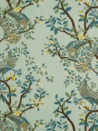 Teal Bird Curtains Aqua Bird Upholstery Fabric Custom Blue Linen Bird Curtains