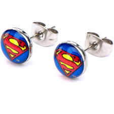 superman steel stud earrings walmart