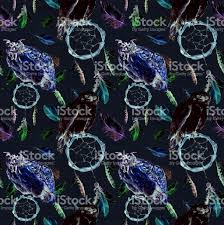 repeating background halloween feathers owl bird dreamcatcher black background repeating pattern