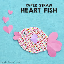 paper straw heart fish craft for kids i heart arts n crafts