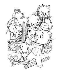 bluebonkers 3 pigs coloring sheets wolf blowing straw