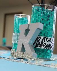 sweet sixteen centerpieces black turquoise sweet sixteen centerpiece with water