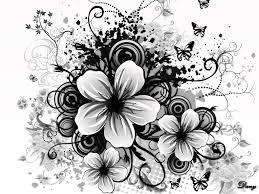 black and white flower picture clip art library