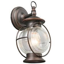 Coastal Outdoor Light Fixtures Shop Portfolio Caliburn 12 25 In H Rubbed Bronze Outdoor Wall