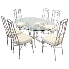 cast aluminum faux bamboo mid century modern six chairs and table