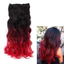 ombre clip in hair extensions creamily black to bright dip dye ombre clip in hair