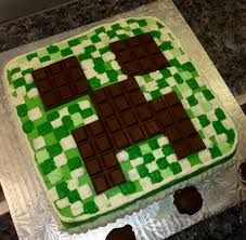 minecraft cake i like the idea of using square candy for the