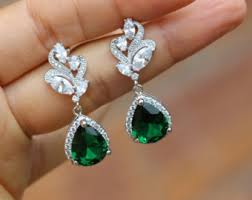 emerald earrings emerald earring etsy