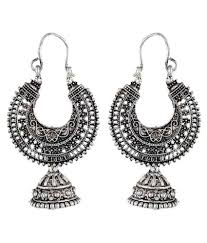 metal earings crazytowear ethnic silver color metal hoop with jhumki earring