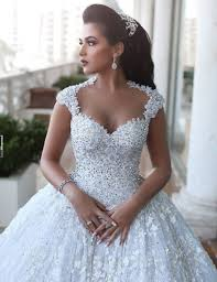 beading wedding dresses gown lace open back scoop cap sleeves chapel beading