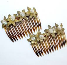 hair slides beautiful pair of 50 s 60 s miriam haskell hair combs slides