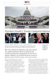 president donald j trump u0027s inaugural address on 20 january 2017