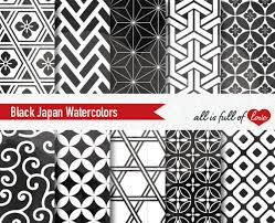 japanese pattern black and white black watercolor digital paper japanese patterns black and white